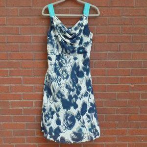 Dressbarn Blue Gray Floral Midi Dress Cowl 8